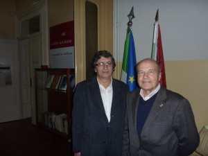 Il Gen. Angelo Arena, Presidente dell'ASCIP DANTE ALIGHIERI con il Professor José Manuel Tedim (a sinistra).