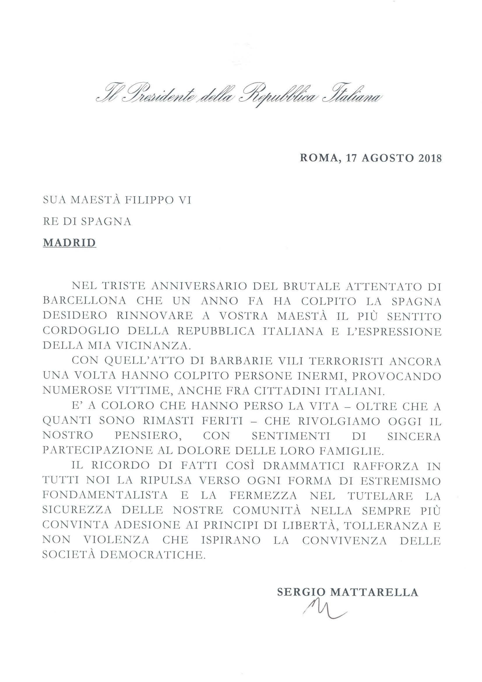 Messaggio Presidente Mattarella 17 agosto 2018